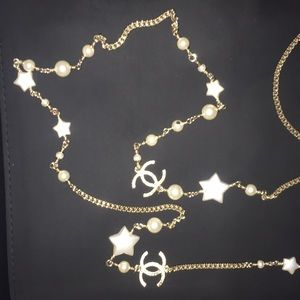 Chanel necklace gold pearl stars 2017